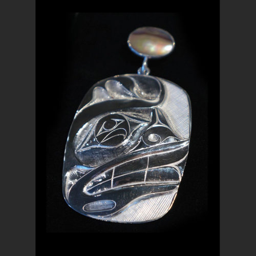 "Sea Spirit Silver Pendant Rande Cook Kwakwaka'wakw engraved sterling silver, abalone 3""H x 1.75""W"