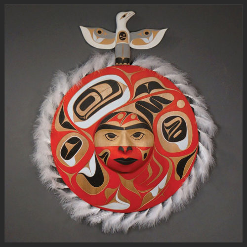"Seagull and Moon Panel Rande Cook Kwakwaka'wakw red cedar, acrylic paint, feathers 34""H x 26""W x 5.5""D"