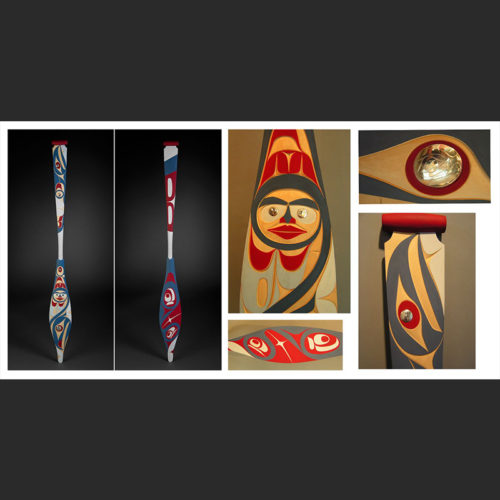 "Spring Paddle Rande Cook Kwakwaka'wakw Yellow Cedar, Hand carved Silver, Acrylic Paint 66 x 6-3/4"""