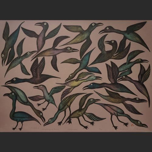 "Storytelling of Ravens Kenojuak Ashevak Inuit Cape Dorset Lithograph c. 2005 #38/50 30""W x 22.25""H storytelling of birds kenojuak ashevak print ithograph 2005 inuit cape dorset nunavut canada canadian"