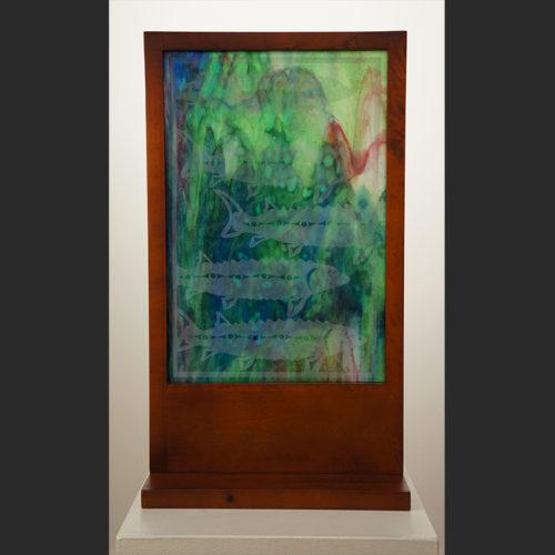 """Sturgeon James Madison Salish & Tlingit Wood & Glass 25""""H x 14""""W x 7""""D"""