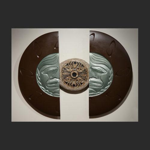 "James Madison Salish & Tlingit Sand Carved Granite, Yellow Cedar & Paint 24""H x 32""W x 3""D Sold"