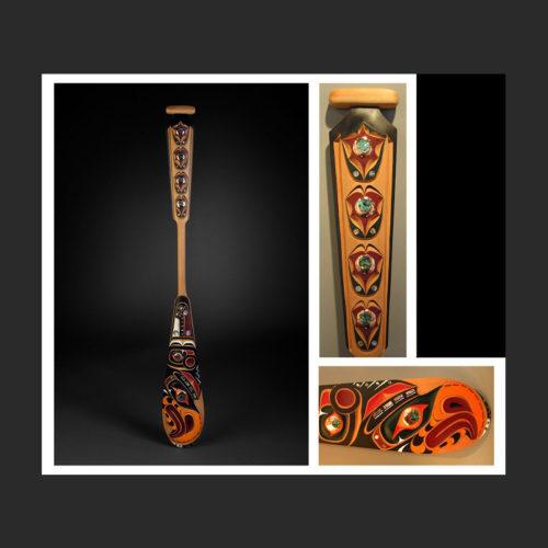 thunderbird paddle Troy Roberts Kwakwaka'wakw Red Cedar, Abalone, Copper, Acrylic Paint