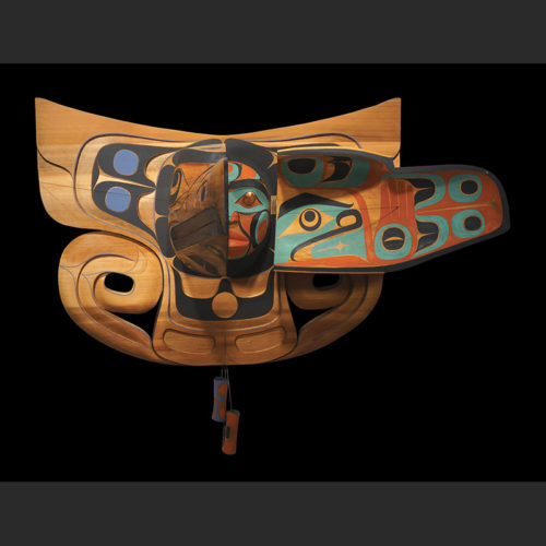 "Raven and Human Transformation Mask Rande Cook Kwakwaka'wakw red cedar, acrylic paint, copper, twine 35""H x 44""W x 34""D"