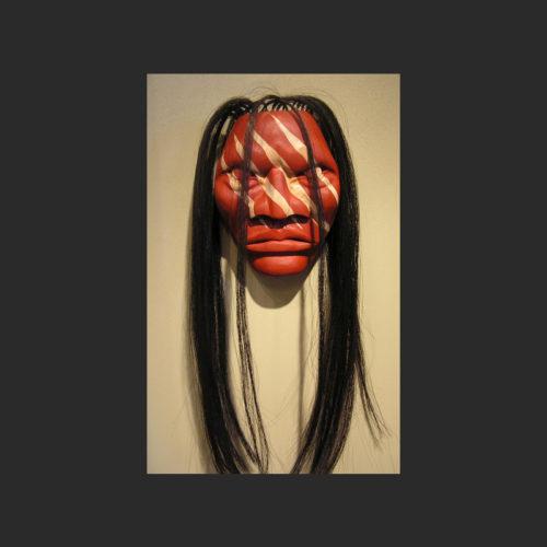 "Spirit Power Mask James Madison Tlingit-Tulalip Cedar and horse hair 10"" x 8"" x 4"""