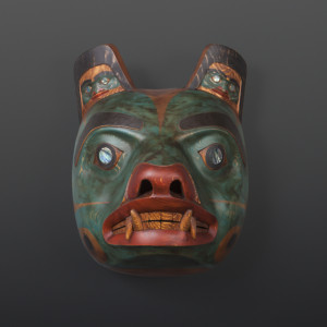 "Ts'msyen Bear Phil Gray Tsimshian Red cedar, abalone, paint 18"" x 14"" x 12"" $7200"