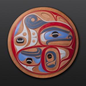 "Ocean Song Rande Cook Kwakwaka'wakw Red cedar, paint 36"" dia. $5500"