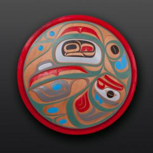 """Sacred Song Rande Cook Kwakwaka'wakw Red cedar, paint 36"""" dia $5500"""