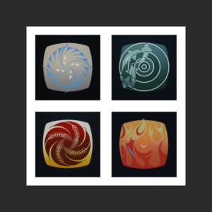 "Four Elements Susan Point Limited Edition Tetraptych Wind, Earth, Water, Fire Silkscreen 12"" x 12"" each"