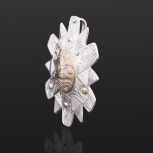 "All Creatures Under the Sun Kelvin Thompson Saulteaux/Haisla Silver, 14k gold 2"" x 2"" $1100"