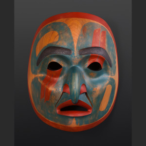 "from the sky Phil Gray Tsimshian Red cedar, paint 14"" x 17"" x 10"""