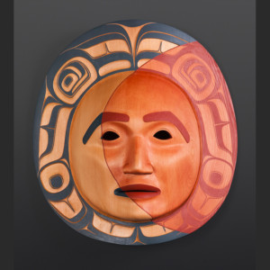"Lunar Eclipse Phil Gray Tsimshian Red cedar, paint 15"" x 17"" x 6"""