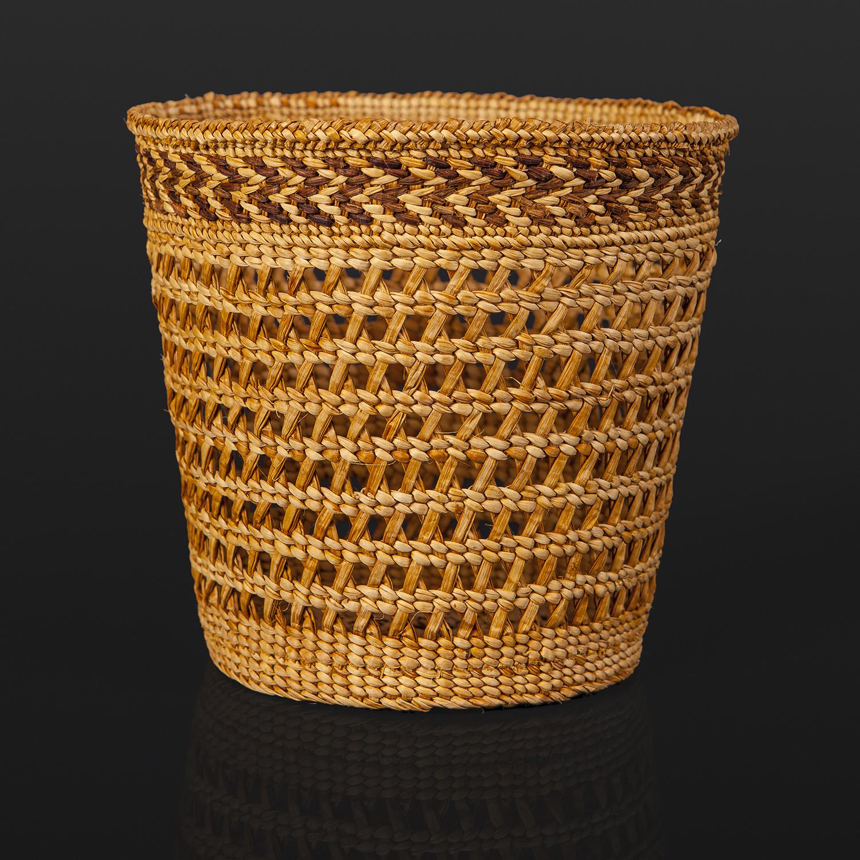 "Open Weave Basket Holly Churchill Haida woven cedar bark 6"" x 5"" x 5"" $1400"