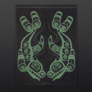 "Blackfish Shawn Aster Tsimshian Acrylic on canvas 24"" x 18"" $1200"