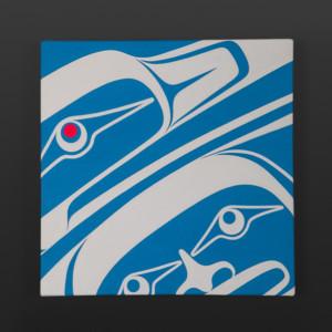 """Blue Raven Clinton Work Kwakwaka'wakw Acrylic on canvas 12"""" x 12"""" x 1½"""" $550"""