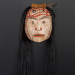 """Sgüüxs"" Speaker Shawn Aster Tsimshian Alder, horse hair, abalone, paint 10"" x 8"" x 5"" 36"" with hair $3800"