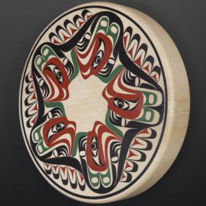 """Five Thunderbirds Drum Nytom Makah Deerhide drum, paint 18"""" dia. x 3"""" $900"""