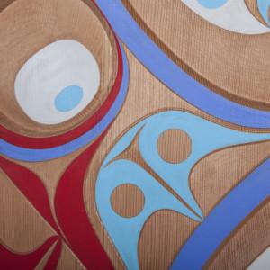 "Gently Flying Rande Cook Kwakwaka'wakw Red cedar, paint 36"" dia. 5500"