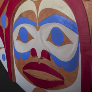"Orca Rande Cook Kwakwaka'wakw Red cedar, paint 36"" dia. $5500"