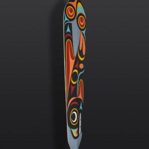 "Orca Paddle Maynard Johnny Jr Coast Salish Yellow cedar, paint, cord 67"" x 8"" x 1½"""