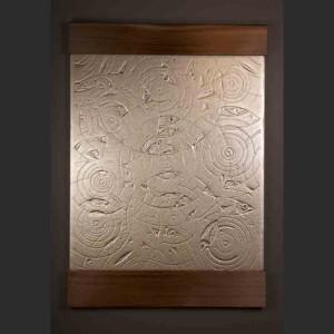 "Rain Susan Point - Coast Salish Glass, red cedar, gold leaf 52"" x 36"" x 2"" Sold"