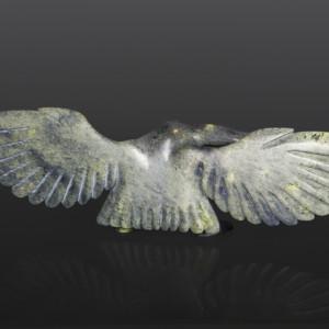 "Magnificent Bird Toonoo Sharky Inuit Serpentine, bone 21 1/2"" x 3' x 5 1/4"" $2800"