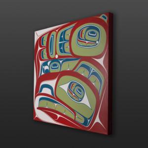 "Gu'ud - Haida Eagle Cori Savard Haida Acrylic on canvas 24"" x 24"" x 1½"" $2400"