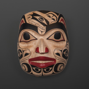 "Bear in Human Form Cori Savard Haida Red cedar, paint 12"" x 9"" x 6½"" $5000"