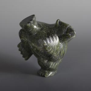 "2-Way Bear Samonie Shaa Inuit Serpentine #33 6"" x 5"" x 3 ½"" $450"
