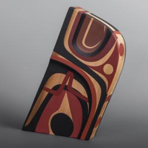 """Healer Steve Smith – Dla'kwagila Oweekeno Red cedar, paint 14 1/2"""" x 12"""" x 2 ½"""" $2800"""