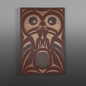 "Beaver Andy Peterson Skokomish Red cedar, paint 24"" dia. $1200"