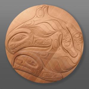 """Orca Pair Raymond Shaw Kwakwaka'wakw Red cedar 35½"""" x 2"""" $6000"""