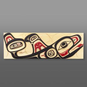 """The One in the Sea Cori Savard Haida Yellow cedar, paint 36"""" x 11½"""" x 1½"""" $5800"""