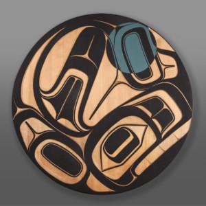 """Sgaan Ernest Swanson Haida Red cedar, paint 36"""" dia. x 1¾"""" $7000"""
