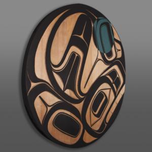"""Sgaan Ernest Swanson Haida Red cedar, paint 36"""" dia. x 1¾"""""""