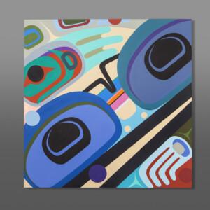 """Spring Steve Smith - Dla'kwagila Oweekeno Birch panel, paint 30"""" x 30"""" $3500"""