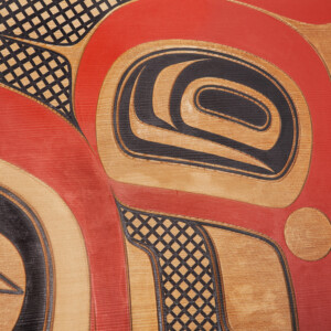"""Dzaga Gadzaagm Dzapk(""""Crosshatching"""") David R Boxley Tsimshian Red cedar, paint 40½"""" x 24"""" x 1"""" $7500"""