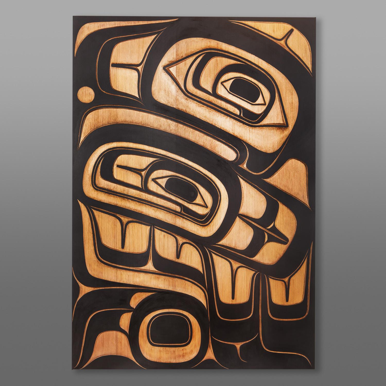 """Guud Ewaans - Big Eagle Ernest Swanson Haida Red cedar, paint 48"""" x 33"""" x 3¾ $9500"""