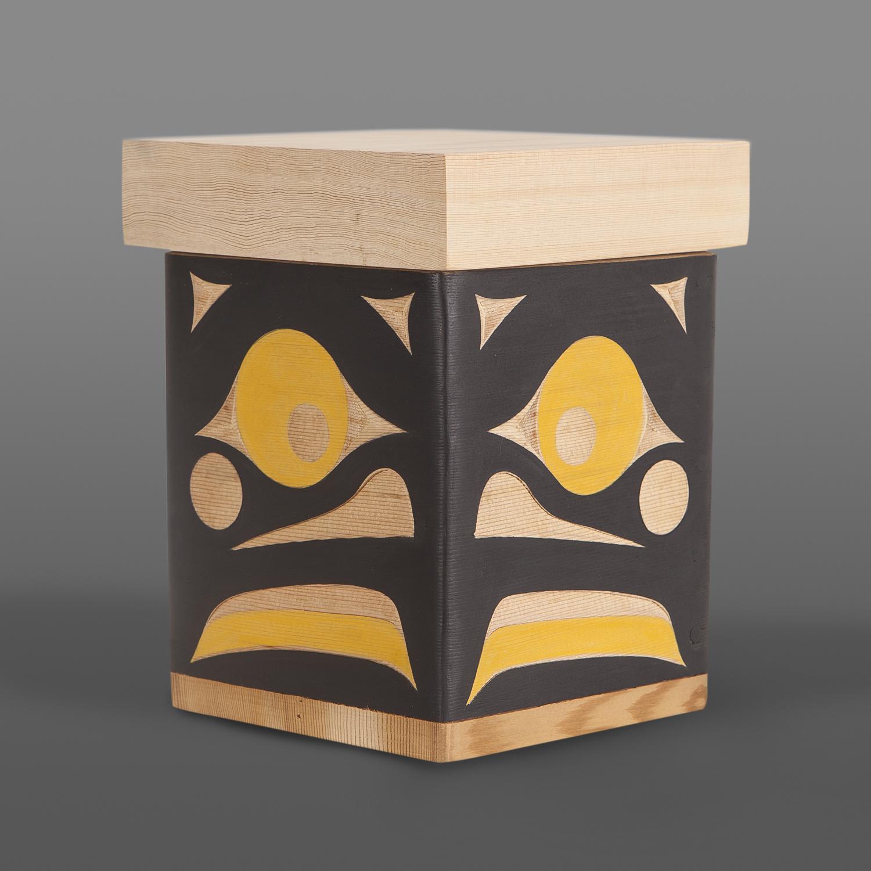 "Bumblebee Box Andy Peterson Coast Salish Red cedar, paint 7½"" x 6"" x 6"" $450"