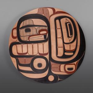 "Beaver and Eagle  Clifton Guthrie Tsimshian Red cedar, paint 26 ¼"" x 1 ¼"" $4500 USD"