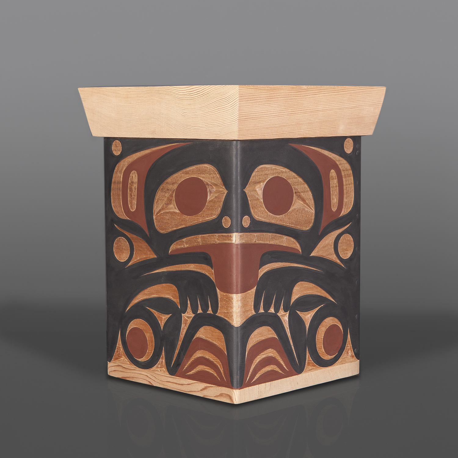 """Raven and Wolf Box Andy Peterson Coast Salish Red cedar, paint 12½"""" x 9½"""" x 8"""" $1200"""