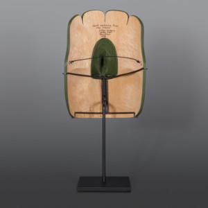 "Hawk Watching from the Trees Clifton Guthrie Tsimshian Alder, paint 10"" x 6"" x 5"" $2500"