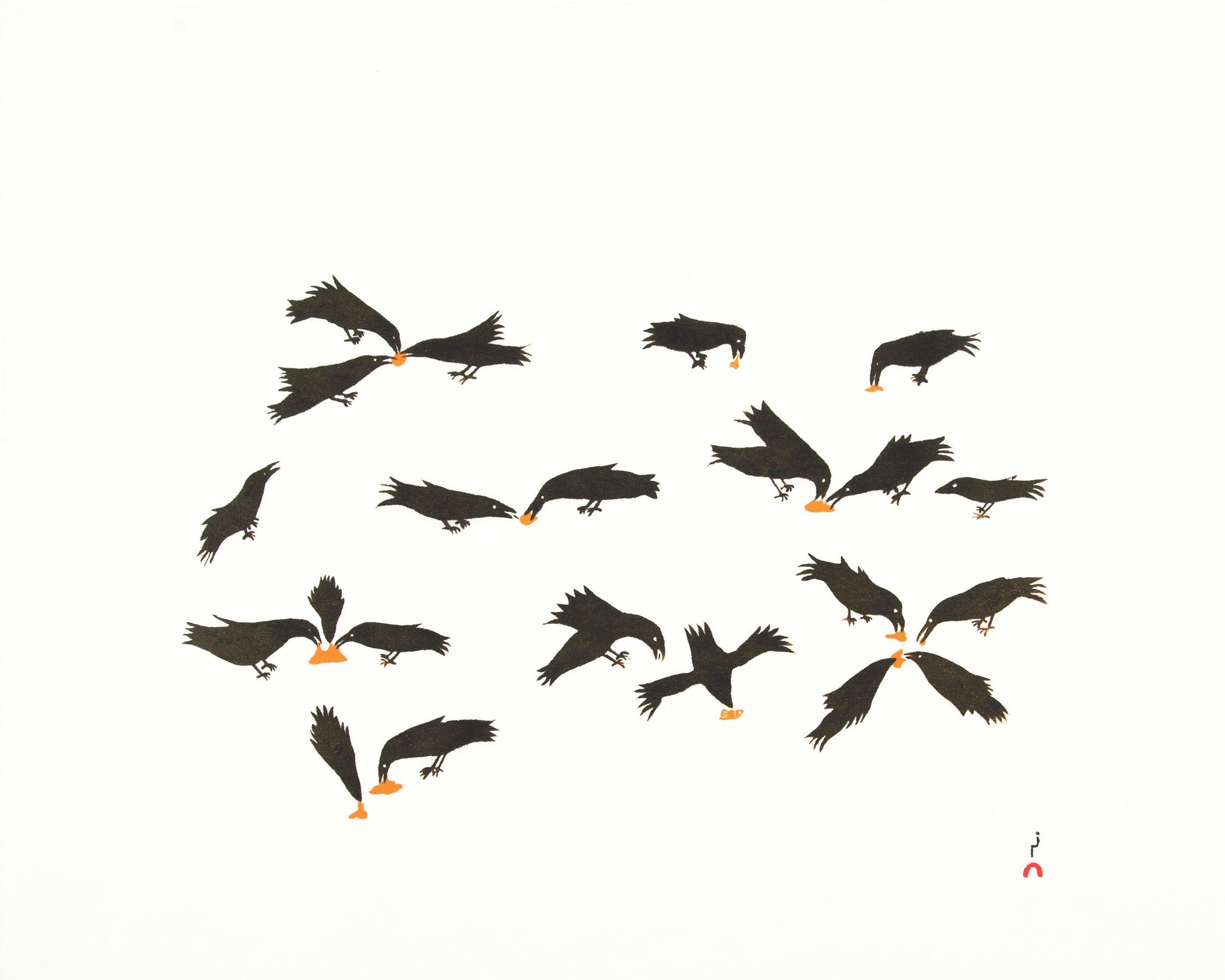 """OLOOREAK ETUNGAT 12. Feeding Ravens Stonecut Paper: Kizuki Kozo White Printer: Cee Pootoogook 48.5 x 61.5 cm 19"""" x 24 ¼"""" $ 500 $400 $375"""