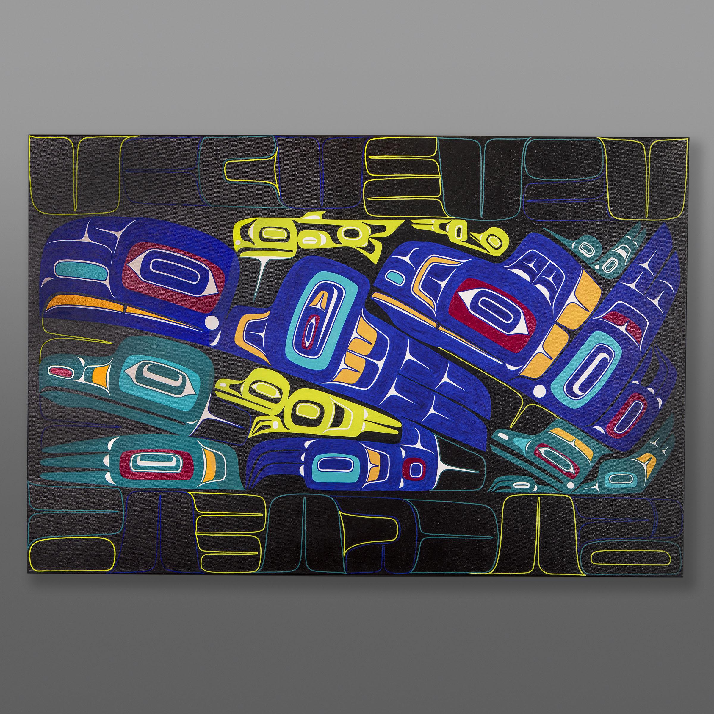 "Night Shift Alison Bremner Tlingit Acrylic on canvas 24"" x 36"" 3200"