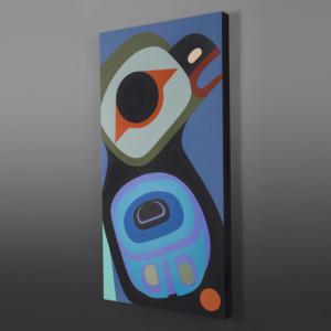 """Young Raven Steve Smith - Dla'kwagila Acrylic on birch panel 30"""" x 15"""" $1700"""