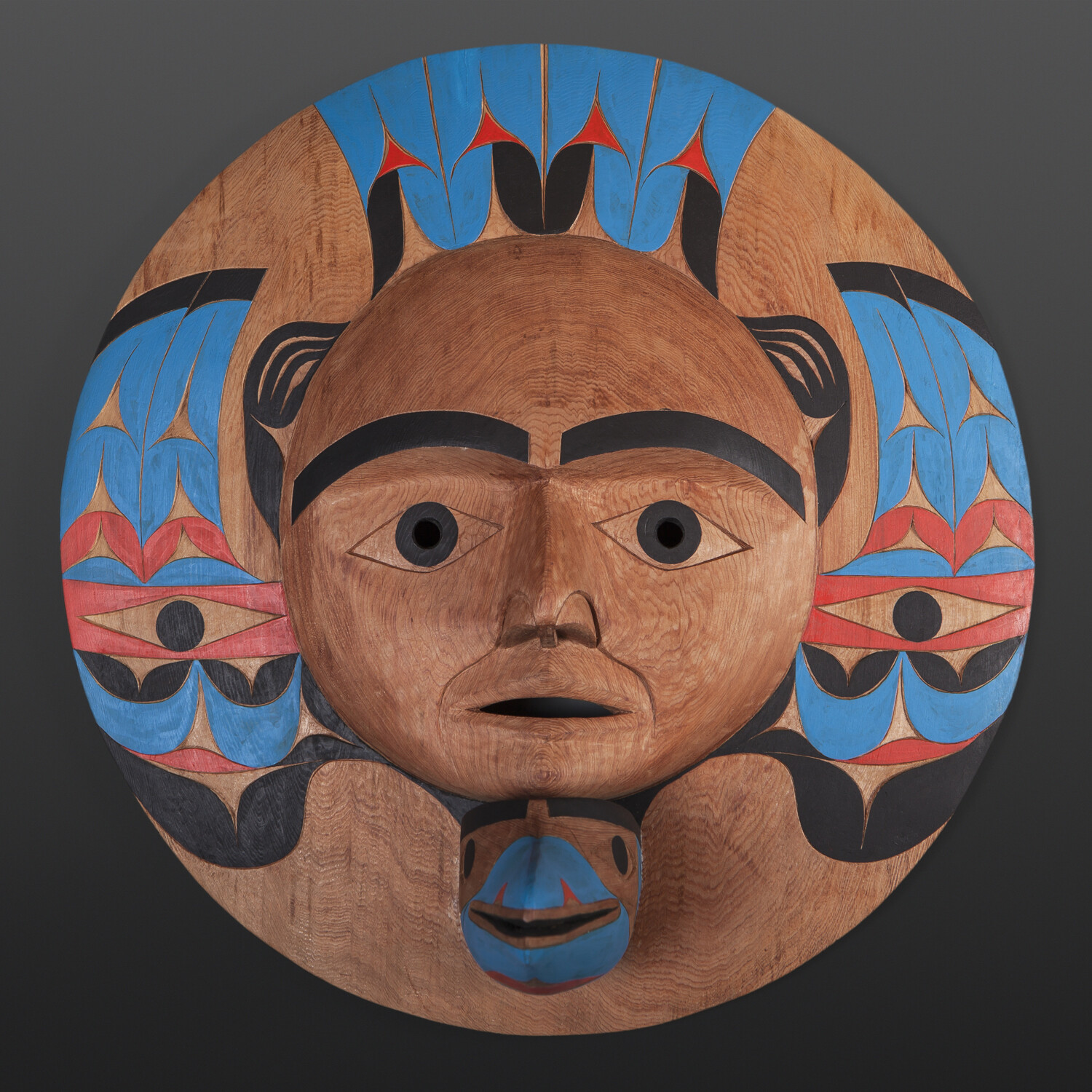 """Blue Raven with Human Witness Tim Paul Nuu-Chah-Nulth Red cedar, paint 19"""" x 19"""" x 9"""" $5500"""