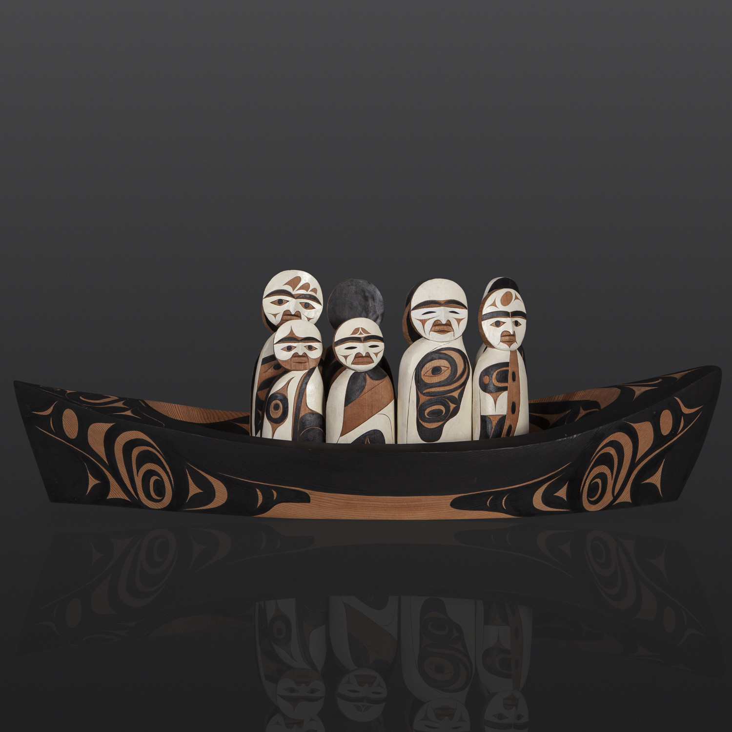 """Special Race of People from the Sky - Out there Tim Paul Nuu-Chah-Nulth Red cedar, paint 32"""" x 11""""x 10"""" $8000"""