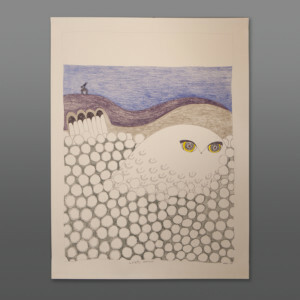 """Ookpik in the Cotton Grass (Hiding from Raven) Ningiukulu Teevee Color pencil, ink on paper 25½"""" x 19½"""" 1300CAD"""